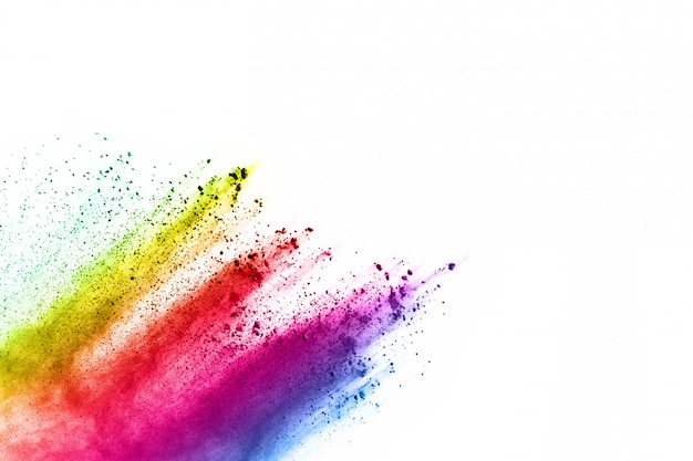 Multicolor powder explosion on white background