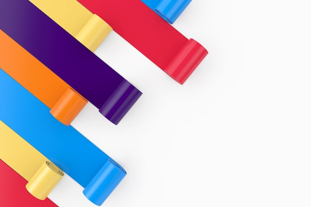 Multicolor pvc polythene plastic tape, foil or paper rolls on a white background. 3d rendering