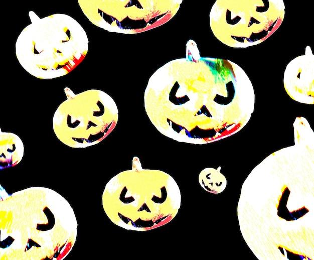 Multicolor scary pumpkins pattern