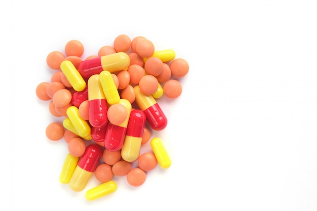 Multicolor tablets on white