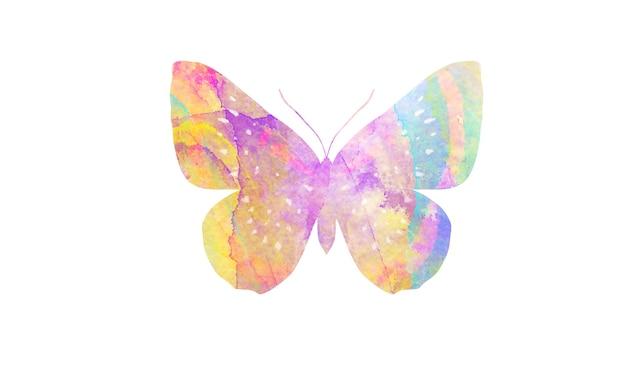 Разноцветная акварель бабочка. тропическое насекомое для дизайна. изолированные на белом фоне