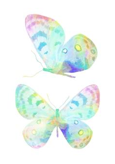 Разноцветная акварель бабочка. тропическое насекомое. изолированные на белом фоне