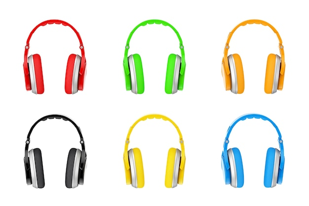 Разноцветные беспроводные наушники крайний крупный план на белом фоне. 3d рендеринг