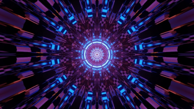 Multicolored 3d illustration of abstract futuristic background with round shaped kaleidoscope ornament and neon lights creating optical illusion of endless tunnel