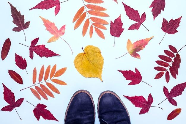 Рамка из разноцветных осенних листьев и замшевые сапоги. привет, осенняя концепция.