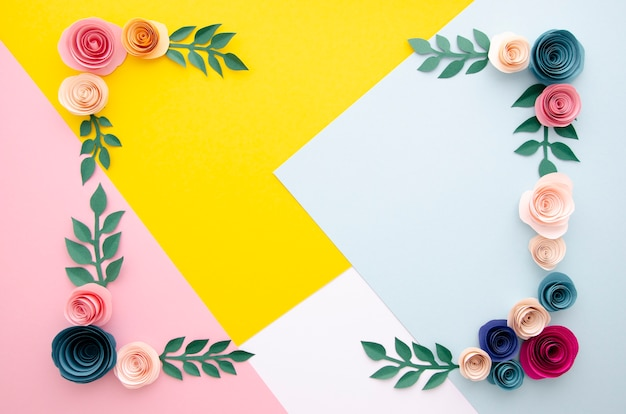 Multicolored background with flowers frame