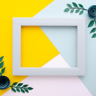 Multicolored background with minimalist floral frame