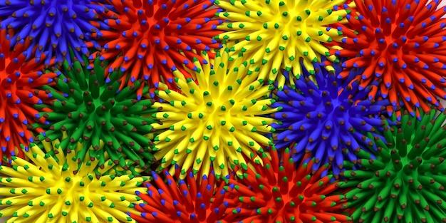 Разноцветные бананы веселый летний фон 3d-рендеринг