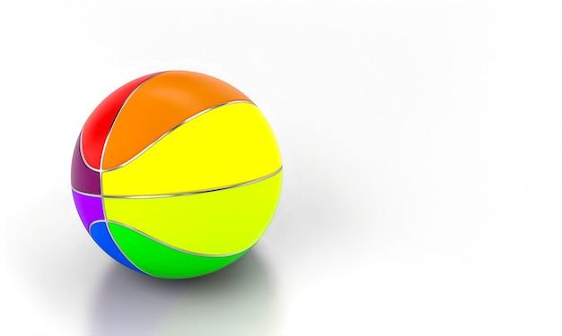 Разноцветный баскетбольный мяч на белой стене. 3d визуализация. концепция командного спорта.