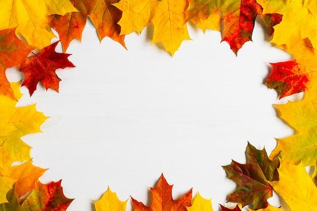 흰색 나무 테이블 상단 보기 가을 배경 복사 공간에 여러 가지 빛깔의 밝은 단풍잎