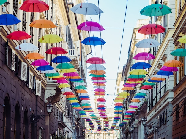 Multicolored, bright umbrellas