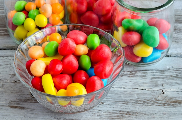 Multicolored candies in bowl