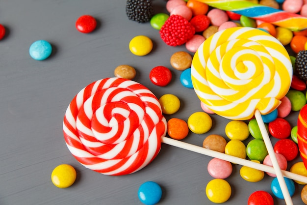 Multicolored candy and lollipops