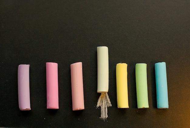Multicolored chalk on slate