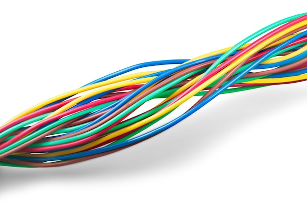 Multicolored computer cables isolated on white background