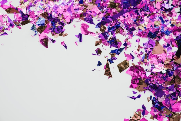 Multicolored confetti in abstract background