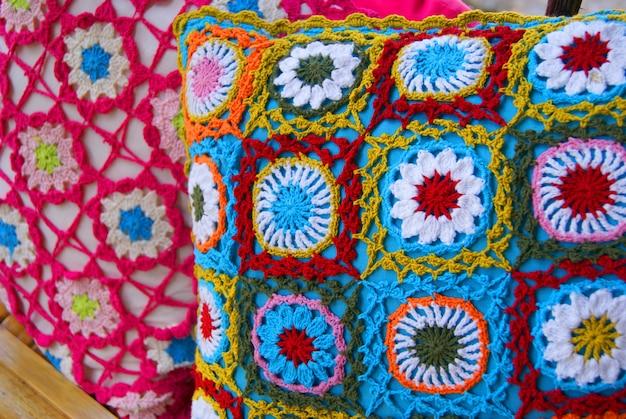 Multicolored cushions in crochet