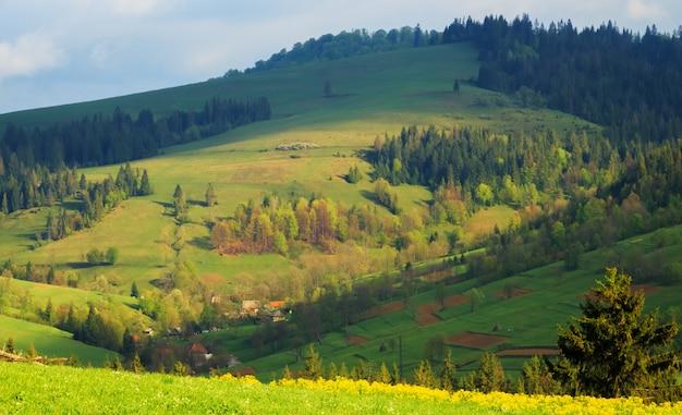Multicolored diagonal carpathian mountains