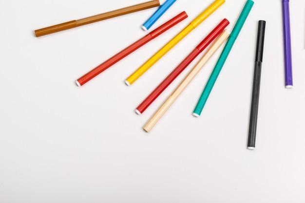 Multicolored felt-tip pens isolated on white