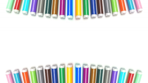 Multicolored felt tip pens on white space.