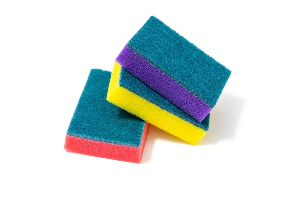 Multicolored foam sponges for washing dishes Premium Photo