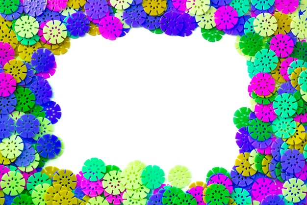 Multicolored frame designer background multicolored details in the form of snowflakes
