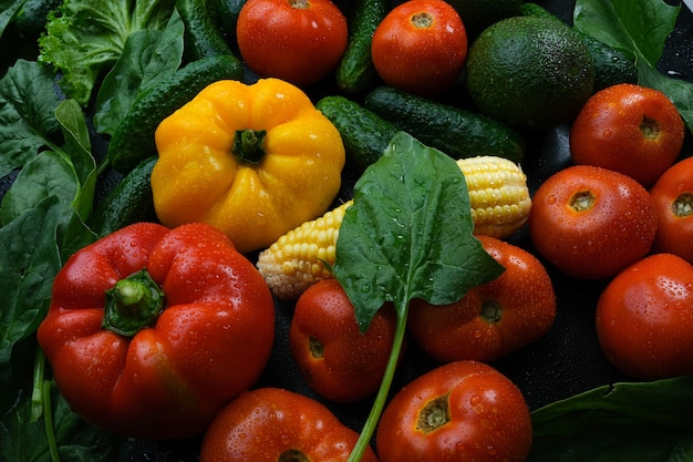 色とりどりの新鮮な野菜の背景