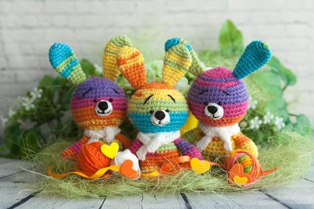 Multicolored funny little rabbits bunnies handmade