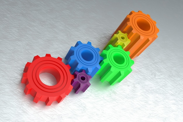 여러 가지 빛깔된 기어 추상 3d 디자인 팀워크 개념