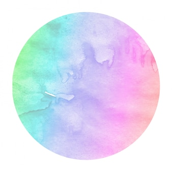 Multicolored hand drawn watercolor circular frame background texture with stains