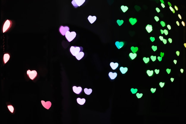 Multicolored heart-shaped lights