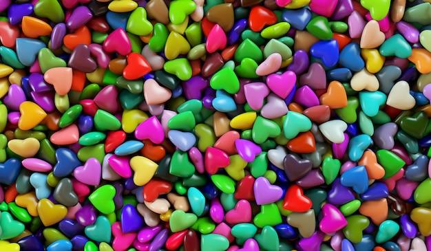 여러 가지 빛깔의 마음. 마음의 배경 텍스처입니다. 3d 렌더링 그림. 발렌타인 데이.