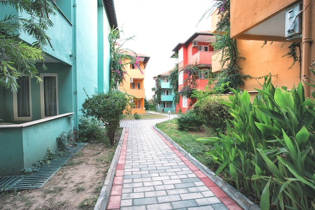 Multicolored houses along paths