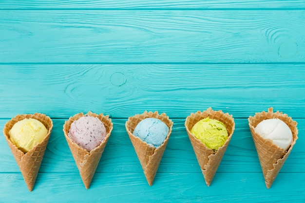 Multicolored ice cream scoops