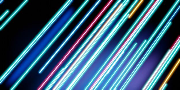 Multicolored laser light neon light on a black background 3d illustration