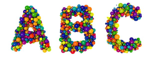 色とりどりの文字abc。面白い3dイラスト。光沢のある色とりどりの装飾的なボールのテキスト。
