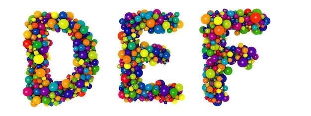 色とりどりの文字def。面白い3dイラスト。光沢のある色とりどりの装飾的なボールのテキスト。