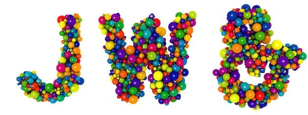 色とりどりの文字jw。面白い3dイラスト。光沢のある色とりどりの装飾的なボールのテキスト。