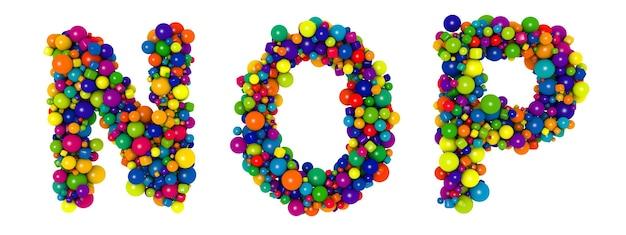 色とりどりの文字nop。面白い3dイラスト。光沢のある色とりどりの装飾的なボールのテキスト。