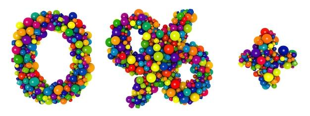 色とりどりの文字番号0。面白い3dイラスト。光沢のある色とりどりの装飾的なボールのテキスト。
