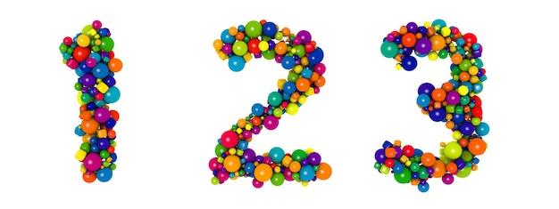 Разноцветные буквы номер 1 2 3. смешные 3d иллюстрации. глянцевые разноцветные декоративные шары текст.