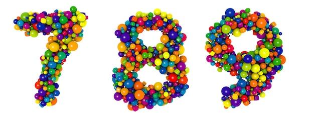 色とりどりの文字番号789.面白い3dイラスト。光沢のある色とりどりの装飾的なボールのテキスト。