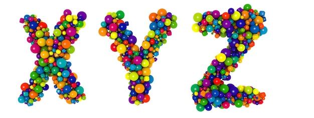 色とりどりの文字xyz。面白い3dイラスト。光沢のある色とりどりの装飾的なボールのテキスト。