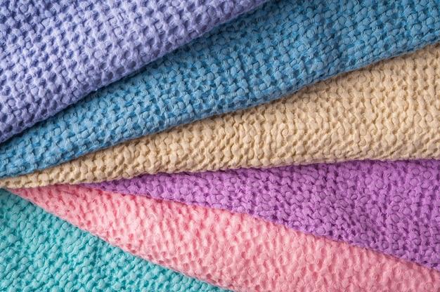 Multicolored linen and cotton bath and spa towels, body care concept