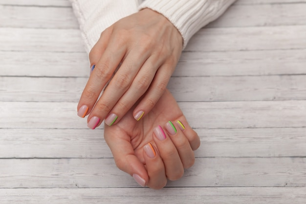 Multicolored modern manicure, nail design. summer mood.