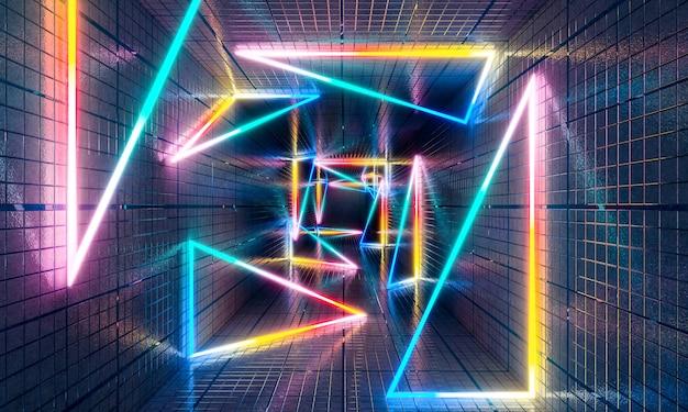 コンクリートトンネル内の色とりどりのネオンライトの幾何学的形状と三角形、未来的な抽象的な3dレンダリング。