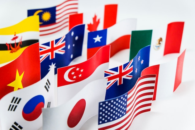 Разноцветный флаг для trans pacific partnership (tpp) Premium Фотографии