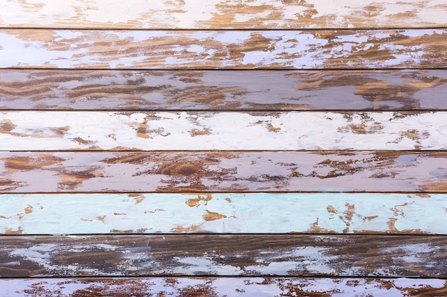 Multicolored old wooden plank background. horizontal stripes