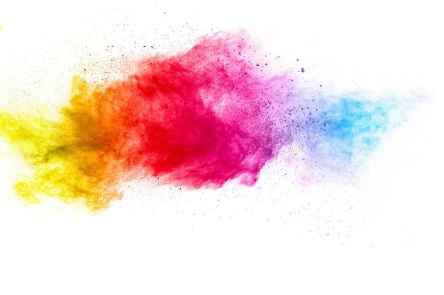 흰색 표면에 여러 가지 빛깔의 입자 폭발