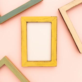 Multicolored photo frames on the retro wall